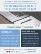 For reproducibility, we need the methods behind the data: A hands-on workshop with protocols.io