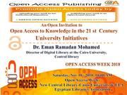 OPEN ACCESS WEEK 2018 in Egypt