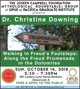 """Dr. Christine Downing """"Walking in Freud's Footsteps: Along the Freud Promenade in the Dolomites"""" at OPUS"""