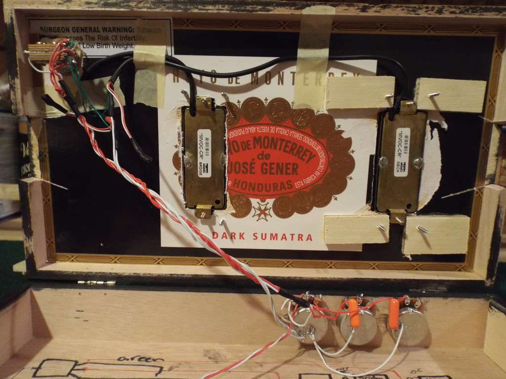 Mini Humbuckers From Cb Wiring Help Cigar Box Nation Electric Guitar Diagrams Free Http Wwwcigarboxnationcom Xn Dont Make Much Sense To Me Looking At It But Makes A Good Sounding D