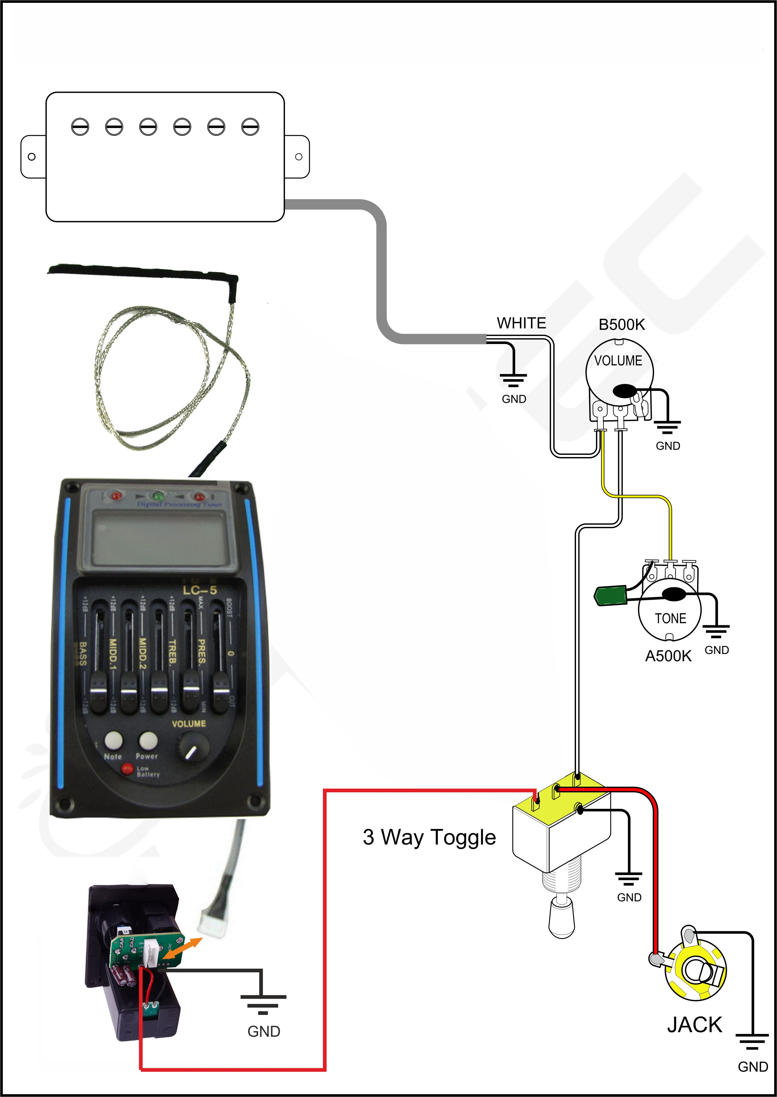wiring a piezo pickup preamp system and a magnetic pickup with a 3i did a new image, to better explain my original idea, just to know if that could work; i need the preamp just for the piezo