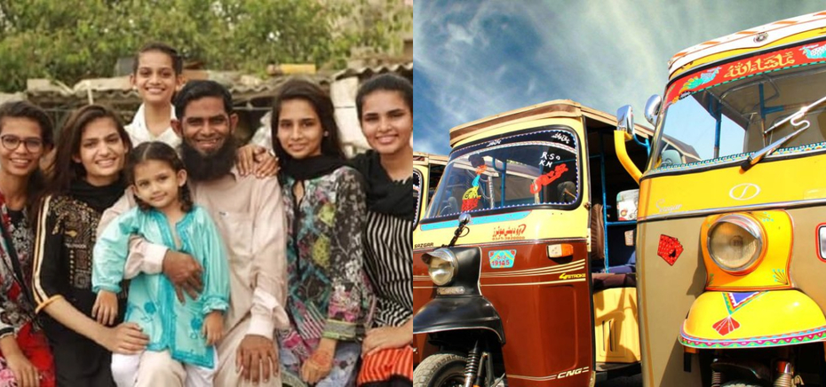 Karachi Rickshaw Driver with Six Daughters at School
