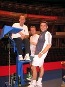 John Lloyd in the chair Dom Wooland and Joe Cip Practice at Albert Hall