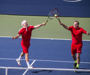 John and Patrick McEnroe lose a double match at The US Open