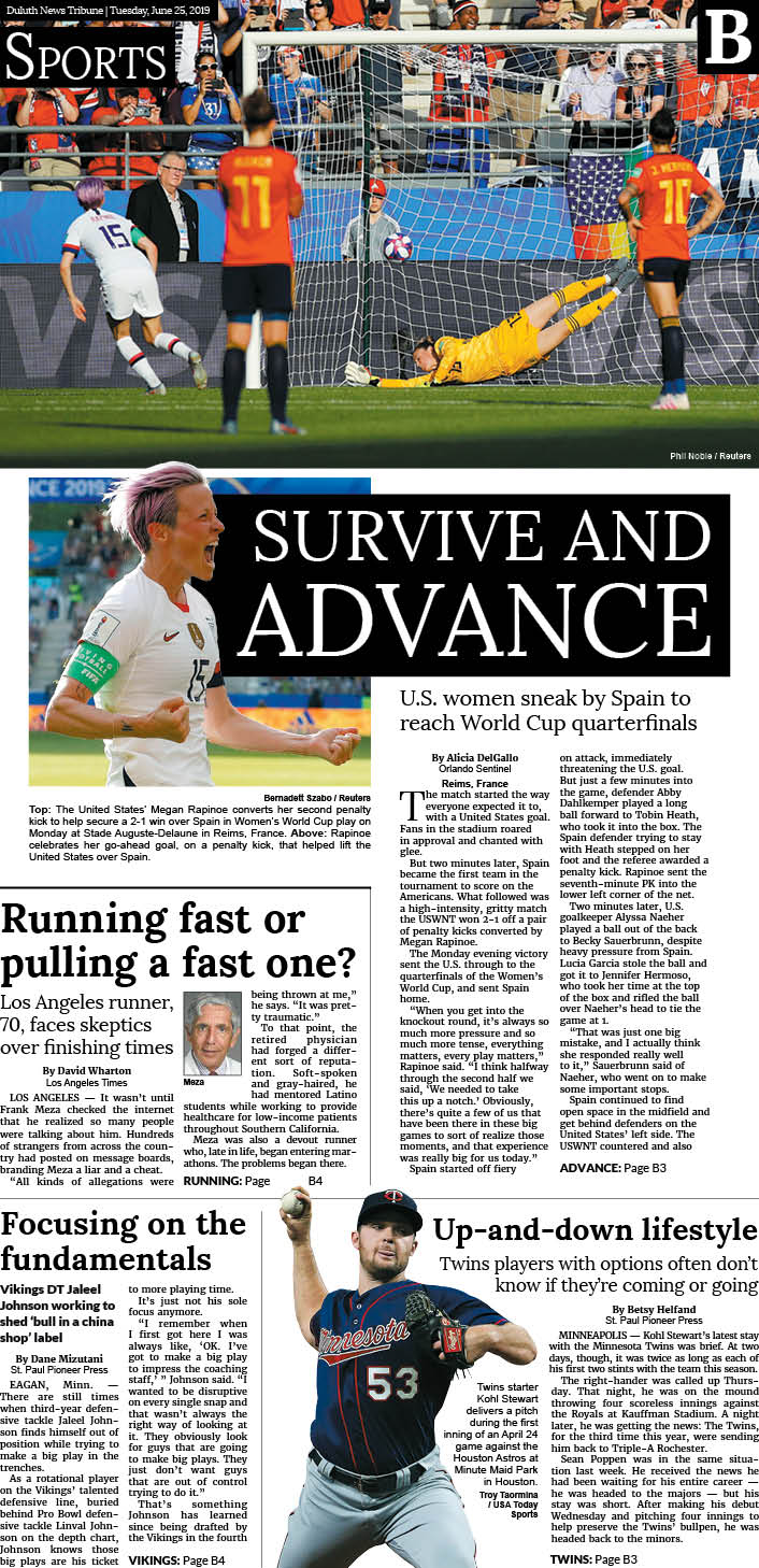 Duluth News Tribune sports cover 06/25/2019