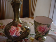 γυαλινα βαζα ντεκουπαζ ριζοχαρτο τριανταφυλλα