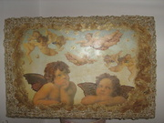 Πίνακας retro,με ύφασμα γύρω-γύρω.