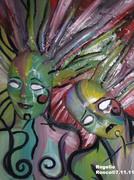 """Bi-Polar Women""- 2011-A-Oil On Canvas"