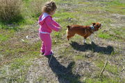Calitlin taking Finn for a walk