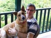 Sam the Big Sook on his dad's lap