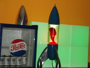 """My Custom Mathmos Lunar """"Prison"""" Cap and Base Blue and the Bottle Clear/Red 2"""