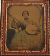 African American woman banjo player cdv