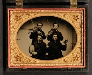 Quarter Plate Vocational Tintype of Four Musicians