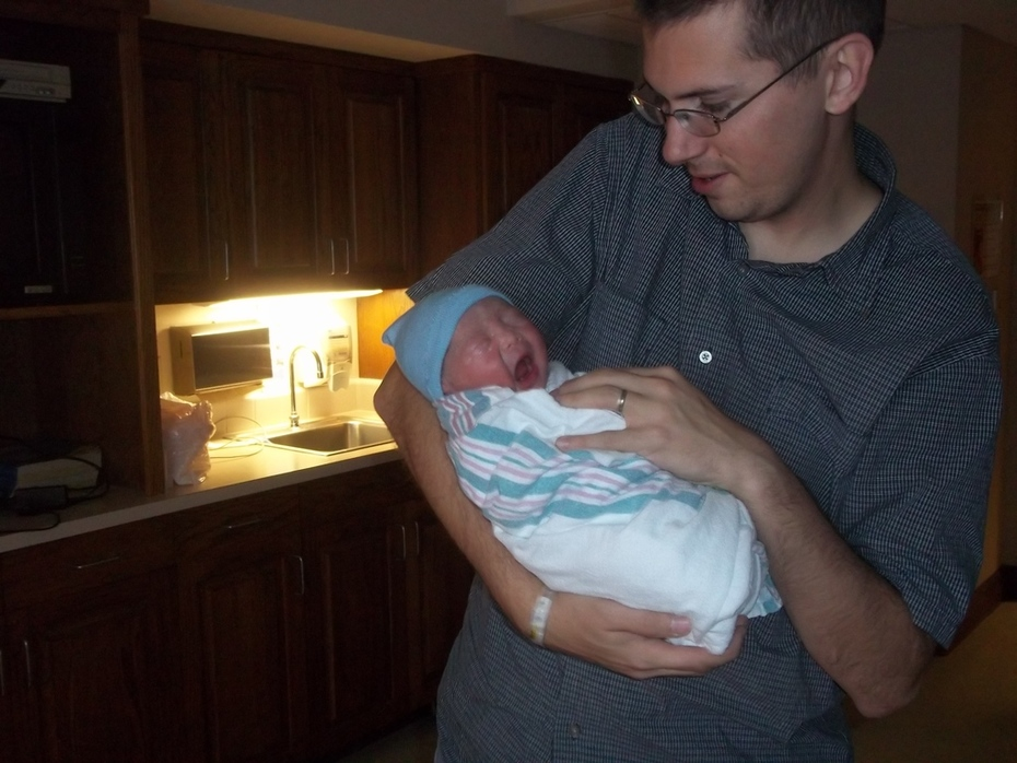 Robert first pic with Daddy