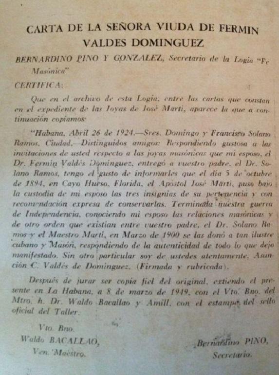 Joyas masónicas de José Martí