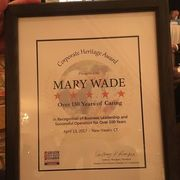 Mary Wade Corporate Heritage Award