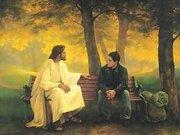 Jesus Ministering on Park Bench