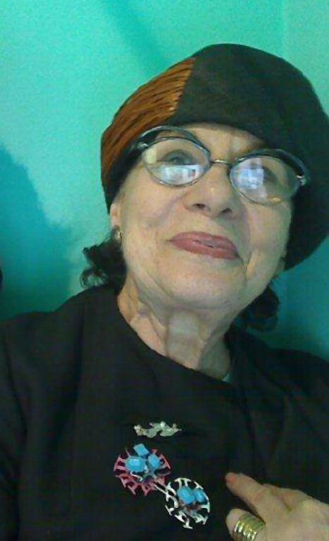 Helen Drutt wearing my Costume Costume piece