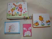 4 κουτακια με χαρτοπετσετα  glitter  κορδελιτσες πατινα (γλυκουλια Ε??? :)