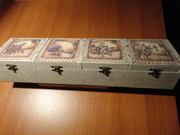 κουτί με 4 χωρίσματα - κρακελέ, παλαίωση