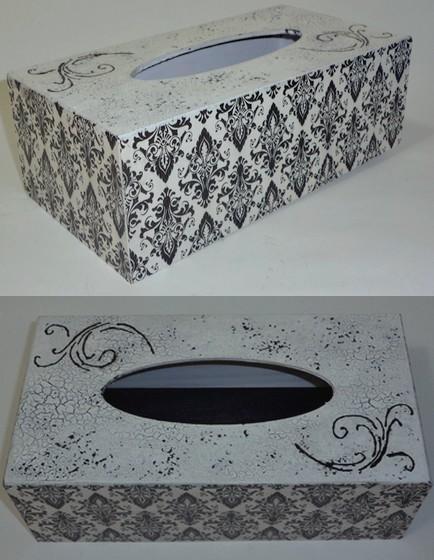 κουτι για χαρτομαντηλα ασπρομαυρο