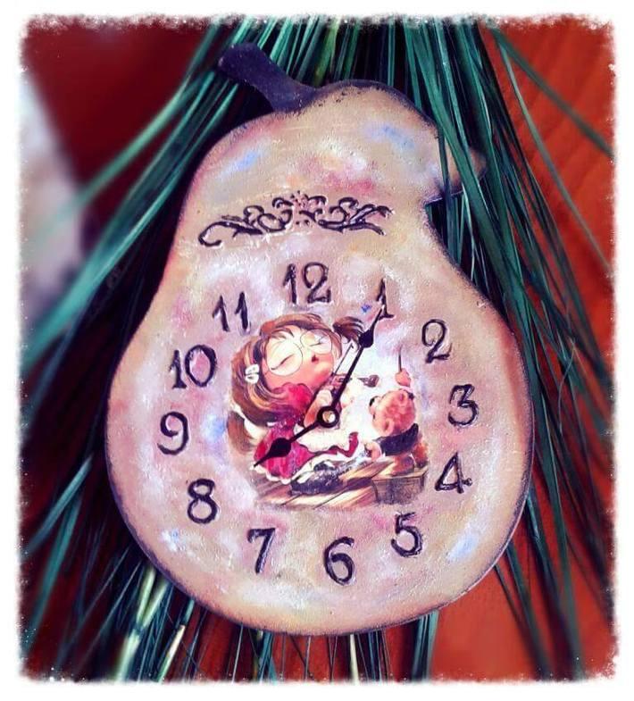 ξυλινο ρολόι αχλαδι