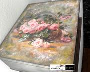 ξυλινο κουτι με μεταφορα εικόνας , ζωγραφική και πάστες