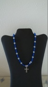 Blue & Clear Beads with Cross