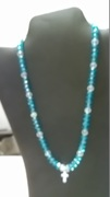 Turquoise & Clear Beads with Cross