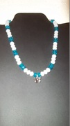 Turquoise & White Beads with Butterfly