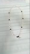 Pearls, Black Swaroviski Beads & Angel Wing