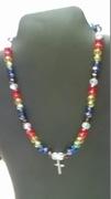 Rainbow & Clear Beads with Cross