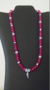 Raspberry Pink, Cream-white & silver colored beads with angle wing charm