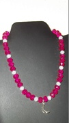 Raspberry & White Beads with Moon