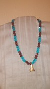 Turquoise & Purple beads with Golden Dog