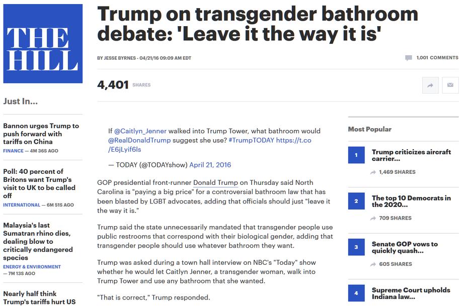 Trump on Transgender Bathrooms
