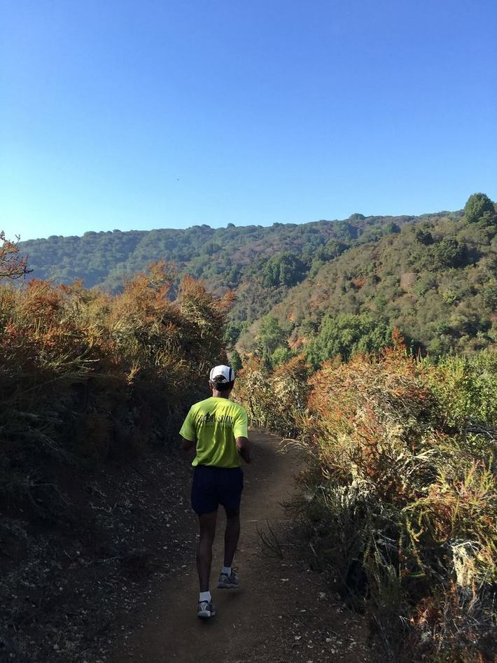 Mammen on Foothill Park single track - August Trail Run