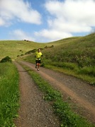 Dave Flexo first long route finisher tearing up the trail and proudly wearing his PARC lime green T.