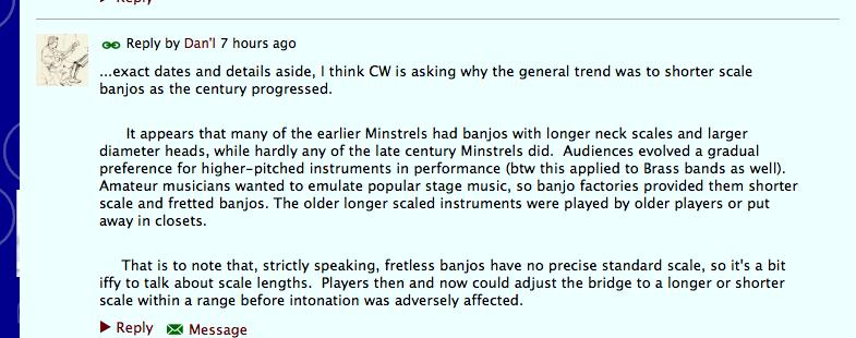 24 inch scale why? - Minstrel Banjo