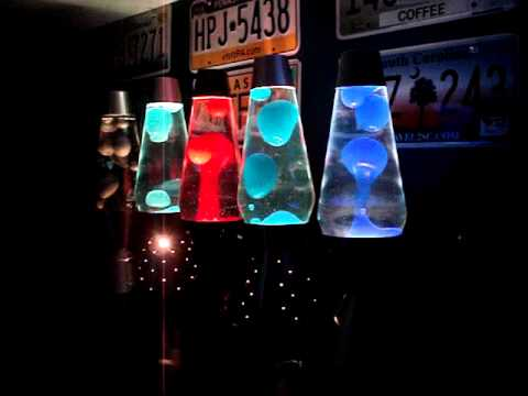 Five 52 oz lava lamps flowing