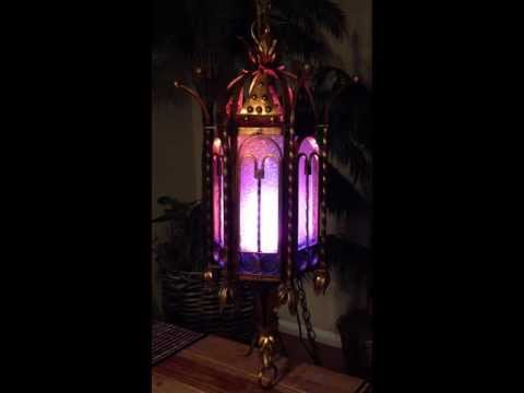 Upcycled Steampunk Cathedral Lamp-Fake Fire and Remote Controlled LED.