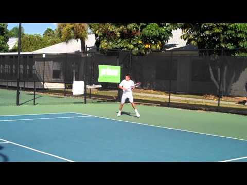 Christian Harrison Practicing at IMG Academies with Kei Nishikori