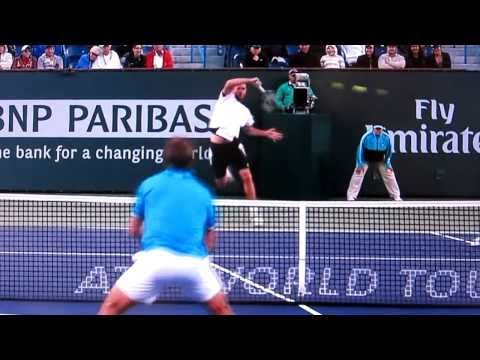 Dolgopolov Amazing Point in HD!! 2011 Indian Wells Doubles Final