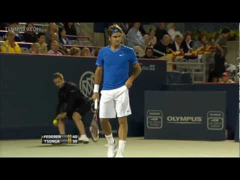 Roger Federer 4 aces in a row against Tsonga (HD)