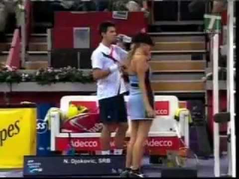 Novak Djokovic HITS HOT & SEXY Ball girl