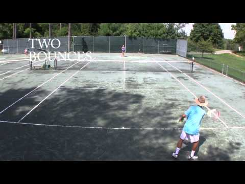 Tennis Drill - Groundstrokes - One bounce, two bounces, three bounces
