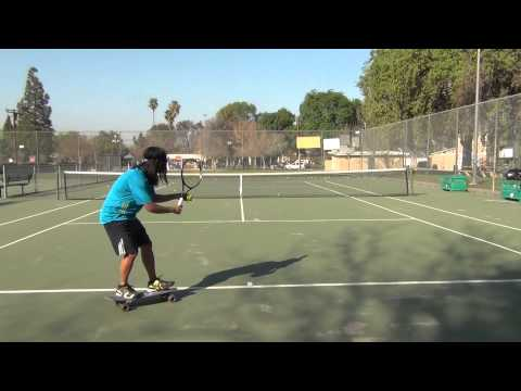 Sampras serve on a rolling skateboard!