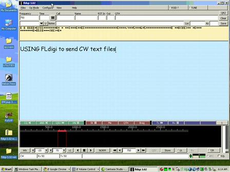 USING THE FREE PROGRAM FLdigi to send cw text files