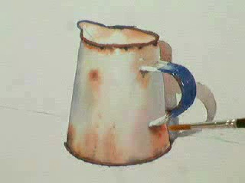 Part 2, Watercolour demo  painting a rusty jug