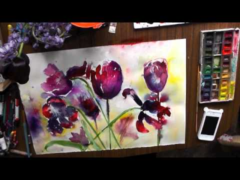 black tulips watercolour watercolor aquarelle demo mixed media